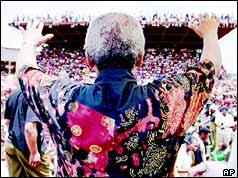 Nelson Mandela at an ANC rally