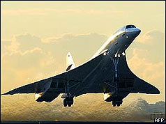 Concorde taking off from New York