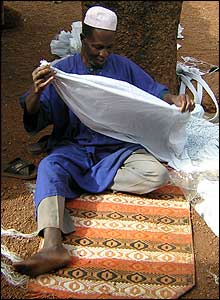 Man tying cloth