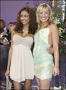 Hollyoaks actresses Sarah Lawrence (left) and Carly Stenson
