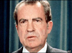 President Nixon speaking to the White House press corps