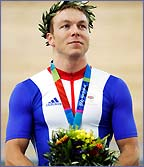 Britain's Chris Hoy bagged gold on the track in Athens