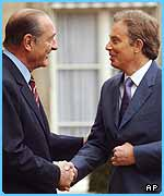 Tony Blair meets the French president Jacques Chirac