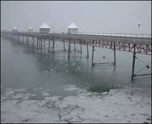 Denis Egan captured this gloomy image of Bangor Pier during recent snowy weather