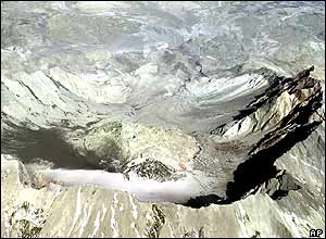 A dark section (left) shows where snow has melted from the 1 October eruption.