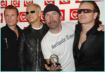 Bono's band picked up a gong for the Q Icon Award, which means they're really cool and brilliant. Sort of
