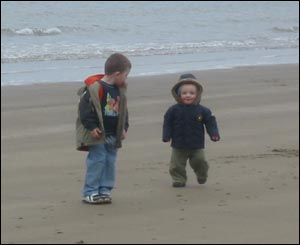 Jamie Phillips, formerly from Wrexham, took this of his son Thomas and nephew Harry on the beach at Cei Bach, Newquay