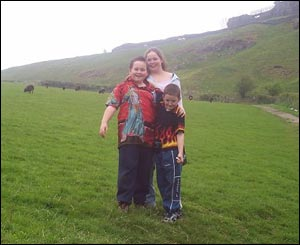 Daniel, Jordan and Gemma at Carreg Cennen Castle, from Fiona Arkell Ammanford
