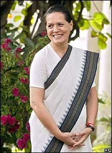 Sonia Gandhi after Congress' 2004 election win in India
