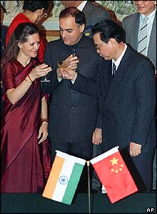 Sonia and Rajiv Gandhi with China's Li Peng in 1988
