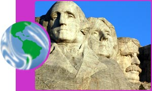 The heads of famous US Presidents on Mount Rushmore