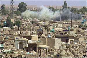Smoke rising over Najaf cemetery