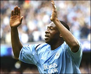 Man City's Paulo Wanchope celebrates after scoring against Everton
