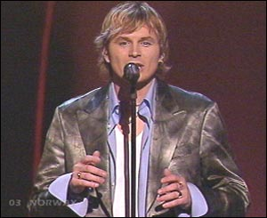Norway's Knut Anders Sorum was the third to sing, performing the up-tempo ballad High. Norway came fourth last year.
