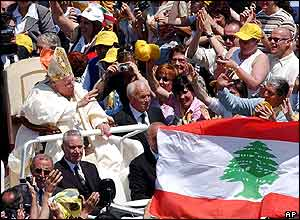 Pope passes Lebanese flag