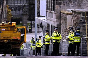 Police were out in force from the early hours putting up barricades and closing off roads