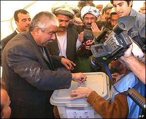 General Dostum casts his vote