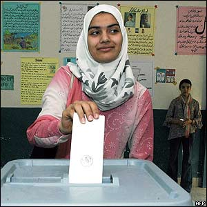 Nineteen-years-old Afghan refugee Moqadasa Sidiqi votes in Pakistan