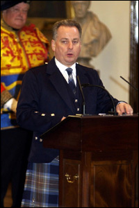 First Minister Jack McConnell addresses the gathering in Parliament Hall
