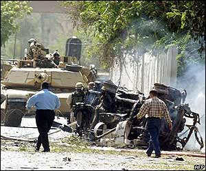 Tanks and wreckage at the blast scene