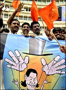 Protesters shout slogans against Congress Party President Sonia Gandhi, in Bangalore.