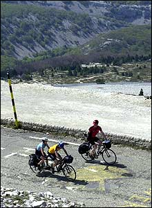 Jane Tomlinson and her brother Luke Goward ride tandem on the ascent of Mont Ventoux in Provence.