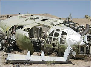 A rusting helicopter - a reminder of the war with the Soviet Union