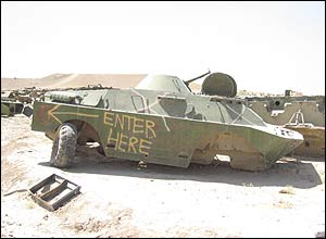 An abandoned armoured vehicle