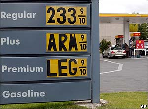 A petrol station price board reads 'Arm' and 'Leg', in Menlo Park, California.