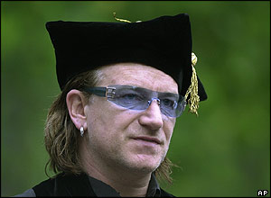 U2 lead-singer Bono after being given an honorary Doctor of Laws degree at the University of Pennsylvania.