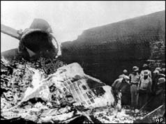 Wreckage of plane with soldiers