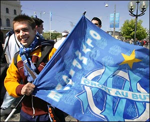 Marseille fans are also out in force ahead of the first European showpiece final of the season