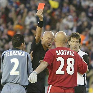 Fabien Barthez is sent off by referee Pierluigi Collina and Marseille are reduced to 10 men