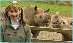 Ellie with the rhinos
