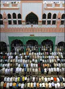 Prayers at the Madrassah Husseinia in Delhi
