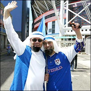 Millwall fans arrive at the Millennium Stadium in plenty of time to soak up the sunshine and the FA Cup final atmosphere