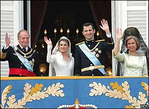 King Juan Carlos, Princess Letizia, Prince Felipe, Queen Sofia (left to right)