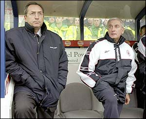 Joint Liverpool managers Gerard Houllier and Roy Evans