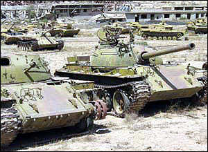 A graveyard of Russian tanks on the outskirts of Kabul