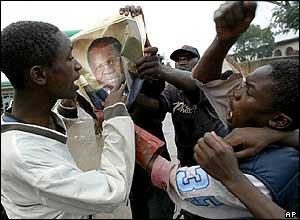 Youths ripping up a Mutharika poster