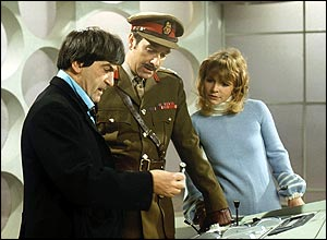 Patrick Troughton (left), Nicholas Courtney and Katy Manning