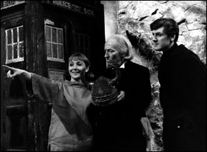 Maureen O'Brien and Peter Purves pictured with the first Doctor, William Hartnell