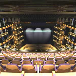 A computer generated picture of the interior of the finished theatre