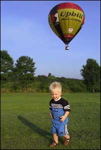 Ian Welsh's son Jac ignoring the fact his parents were floating off on a balloon trip