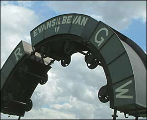The Circle of Drams industrial sculpture at Maesycwmmer Viaduct (Ken Jenkins, Pontllanfraith)