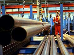 Steel worker at Corus plant nr Wolverhampton