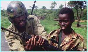 A child soldier in the Sierra Leone Army