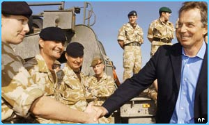 Tony Blair with UK troops in Iraq