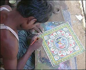 Mural painter in Orissa, eastern India