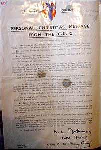 A Christmas message sent to Bob from Viscount Bernard Law Montgomery